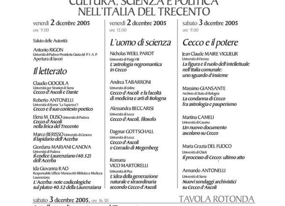Cecco D'Ascoli: Cultura, Scienza E Politica nell'Italia Del Trecento